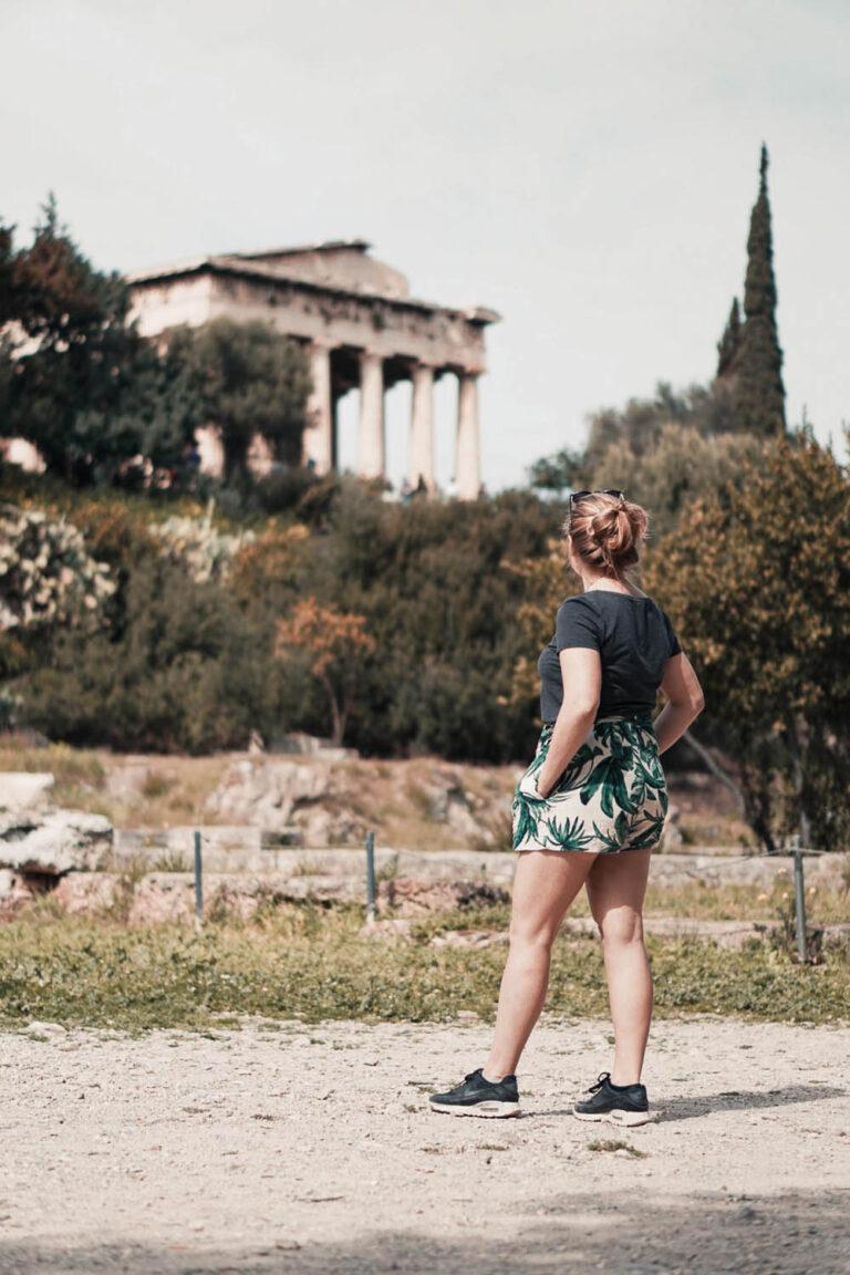 Me, watching the Temple of Hephaestus from the distance - La Vie En Marine