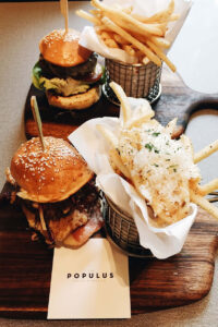 burgers and truffle fries