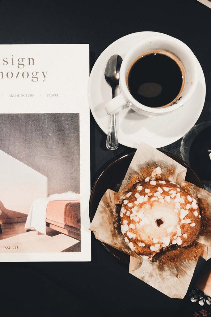 Magazine, coffee and muffin