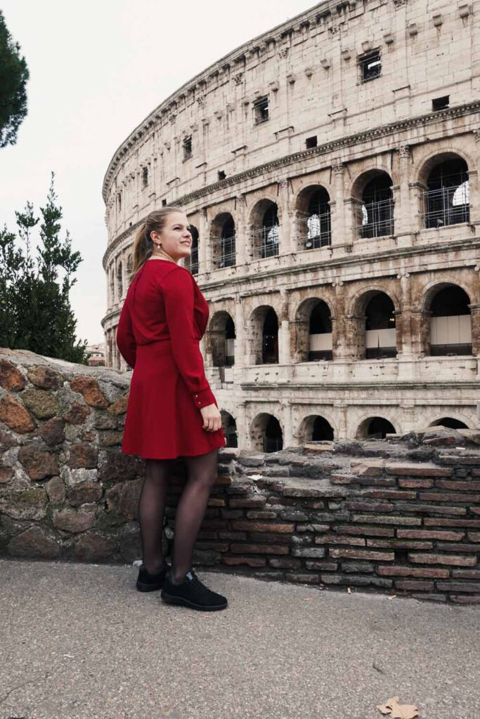 in fron of the colosseum, one of the Instagram Worthy Places of Rome