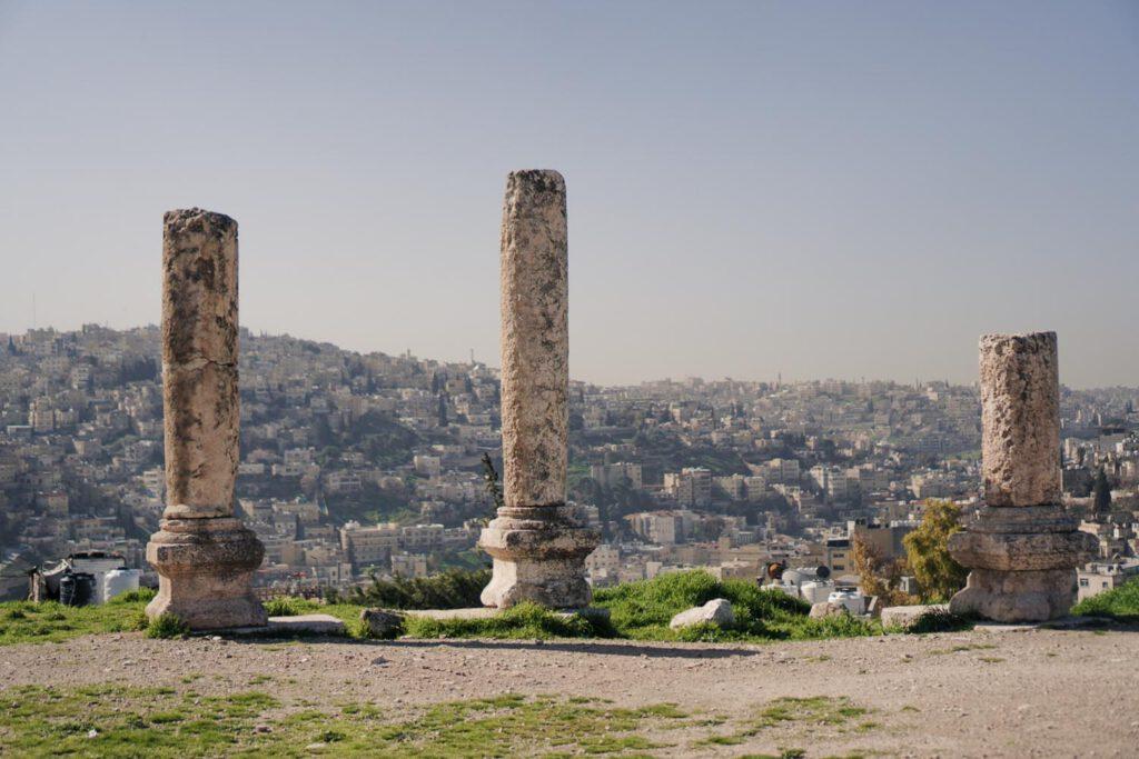 Three Pillars with the view upon Amman, Jordan