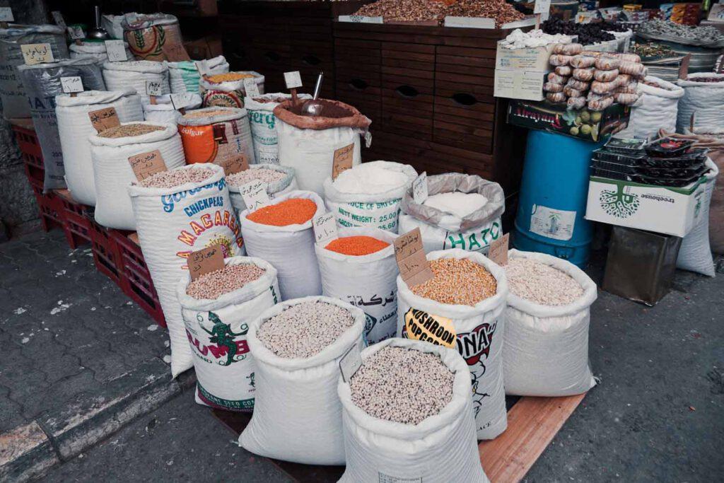 Sacks of Grain in the Souk of Amman