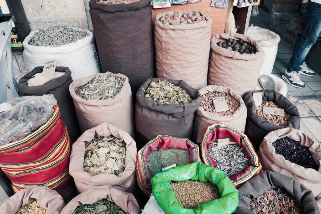 Sacks of Herbs piled up