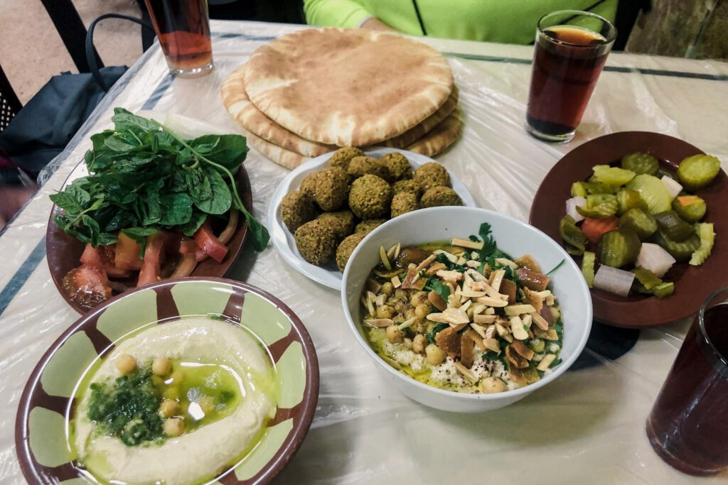 Hummus, Falafel and Arabic Dishes on table