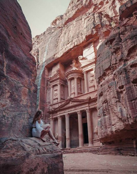 Blonde Girl in front of Petra's Treasury