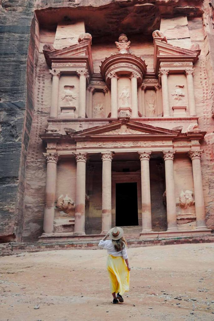 Girl in front of Petra's Treasury