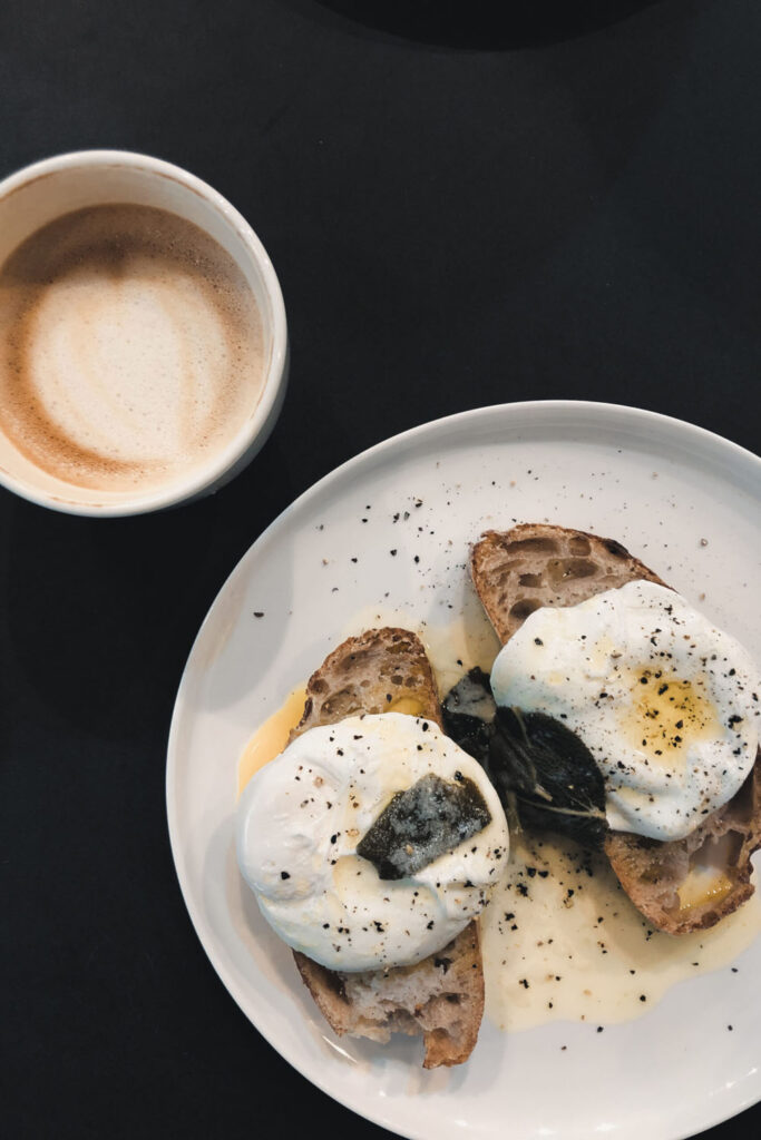 coffee and eggs on toast